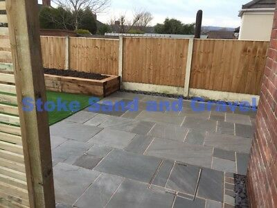 Kandla Grey paving 19.52m2 Patio pack Indian Stone Sandstone Mixed Silver Garden