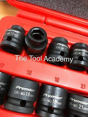 "Sealey Air Impact LOW PROFILE STUBBY Socket Set 13 Piece 1/2"" D Metric 10-24mm"