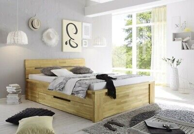 salerno bett mit schubl den 140x200 eiche wildeiche massiv ge lt eur 659 00 picclick de. Black Bedroom Furniture Sets. Home Design Ideas