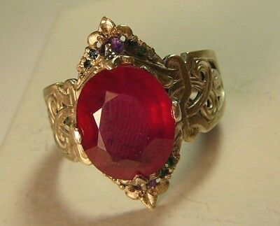 Imperial Russian 84 Silver Ring Ruby Diamond Emerald Sapphire Amethyst