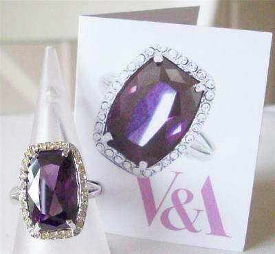 V&a The Victoria & Albert Museum, Violet Cubic Zirconia Crystal Ring Rrp £66