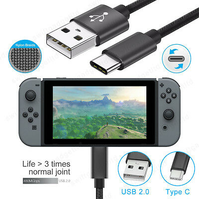 1M Braided USB Type C Fast Charging Cable Data Charger Lead for Nintendo Switch