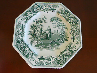 Spode Green  Plate Archive Collection Girl At Well  23Cm Made In England