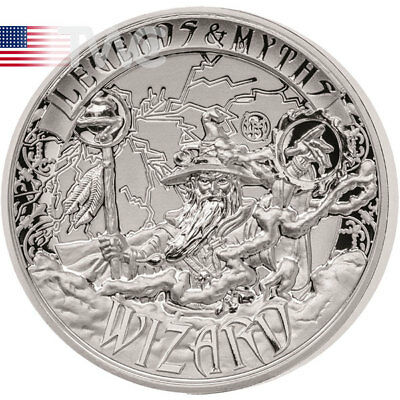Solomon Islands 2017 5$ Wizard Legends and Myths 2 oz Reverse Proof Silver Coin