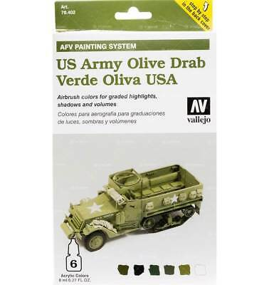 Set AFV US Army Olive Drab WWII (6x8ml) - Acrylicos Vallejo 8429551784023