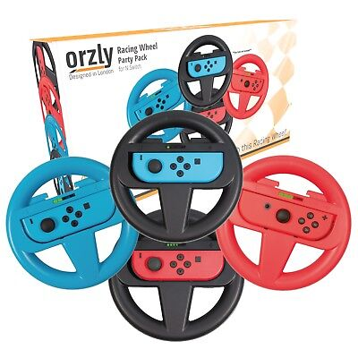 Nintendo Switch Steering Wheels - Pack of 4 (2x Black, 1x Red, 1x Blue) by Orzly