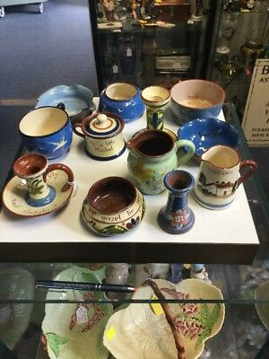 Selection Of Devon Pottery (motto Ware) 12 Pieces In Total