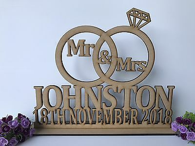 Mr & Mrs With With Surname And Wedding Rings Stacked Wedding Sign Decor Wooden