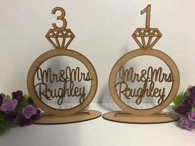 Wooden Wedding Ring Style Engagement Table Numbers Personalised Raw Mdf