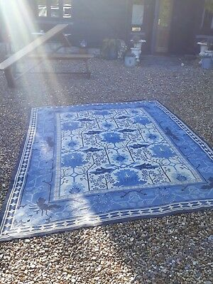 large country house blue and white carpet rug antique vintage