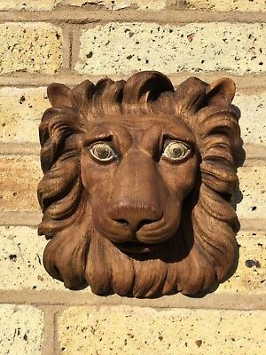 Antique Carved Lions Face Wall Plaque