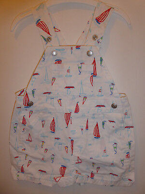 GAP - Lovely Baby Boys DESIGNER Sail Boat Dungarees Outfit 3-6 Months VGC