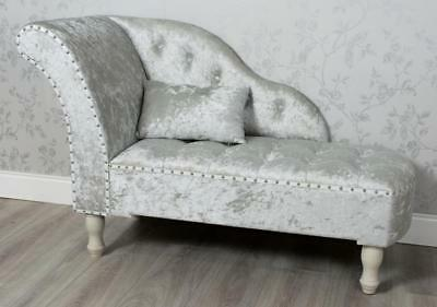 Pale Grey Crushed Velvet Upholstered Fabric Stud Chaise Longue Sofa Chair (Gz807
