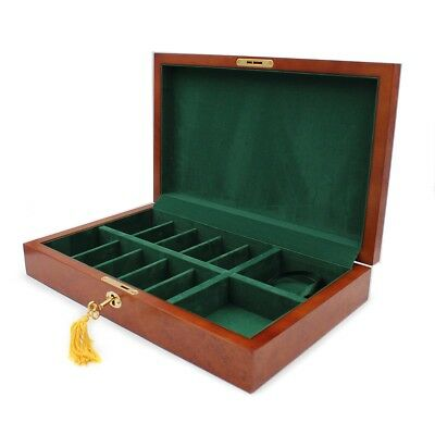 Burlwood Poker Chips Lock Box Case Holds 250 Chips Plus 2 Deck of Cards