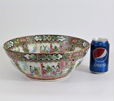 Fine 19th Century Chinese Qing Dynasty Famille Rose LARGE  Porcelain Punch Bowl