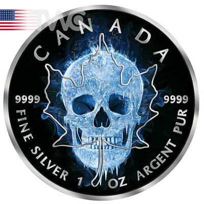 Maple Leaf Ice Skull 1oz Black Ruthenium BU Silver Coin 5$ Canada 2017