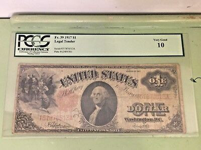 Fr.39 1917 $1 LEGAL TENDER PCGS VERY GOOD 10