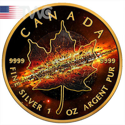 Maple Leaf Apocalypse II 1oz Black Ruthenium BU Silver Coin 5$ Canada 2017