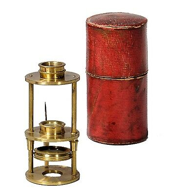 Antique brass Withering type microscope in fitting etui, ca. 1800