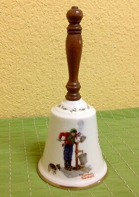 """Norman Rockwell Gorham 1977 CHILLING CHORE Bell Handbell With Wooden Handle 9"""""""