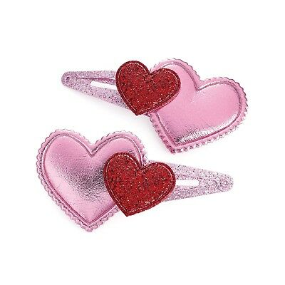 Girls children 2 new pink sparkly glitter heart hair slides snap clips party