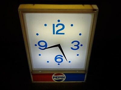 Vintage Lighted Huge Pepsi Cola Butcher Shop Clock Sign General Store Soda