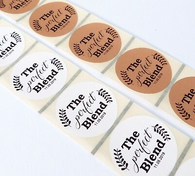 45Mm White Or Kraft Round Personalised The Perfect Blend Wedding Labels Coffee
