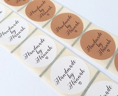 45Mm White Or Kraft Brown Round Personalised 'Handmade By' Labels Stickers
