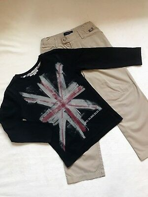 BURBERRY Boys Designer Navy Union Jack Print Top & Beige Chinos Age 5 Years