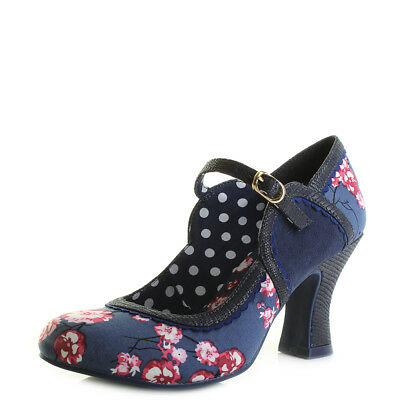 Womens Ruby Shoo Rosalind Blue Navy Floral Mary Jane Court Shoes Shu Size