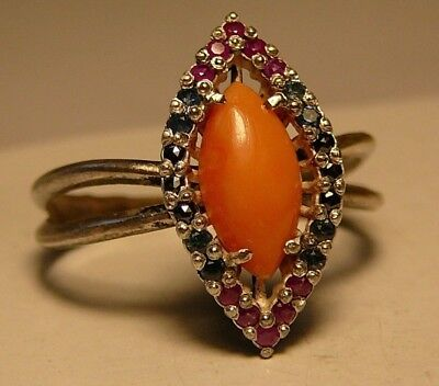 Imperial Russian 88 Silver Ring Coral Black Diamond Ruby Sapphire