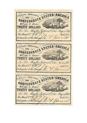 "3 Orig. Confederate  ""WAR BOND COUPONS"" 1862 UNC."
