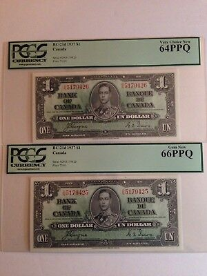 1937 $1 Dollar Bank Note Canada 2 Consecuitive Bills DN Coyne Towers
