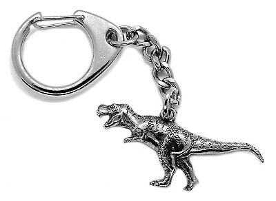 Standing Tyrannosaurus rex Dinosaur Pewter Keyring (Trex Comes in Gift pouch)
