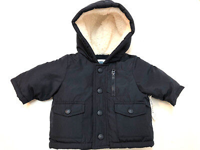 2eadc8bf502b OLD NAVY BABY Boy Lined Winter Jacket Size 0-3 Months Hooded Fleece ...