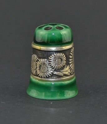 Porcelain & Silver Green Thimble - Flowers