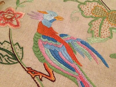 Vintage Hand Embroidered Picture Panel - Jacobean Flowers Deer Bird Squirrel