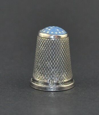 Sterling Silver Blue Stone Top Scandinavia Thimble