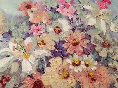 Vintage Hand Embroidered Wool Work Panel – Pretty Bouquet Of Flowers