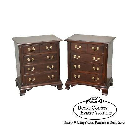 Stickley Chippendale Style Pair of Mahogany Chests Nightstands
