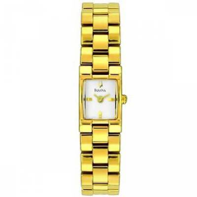Bulova 97T85 Women's Dress Gold-Tone Stainless Steel White Dial Quartz Watch