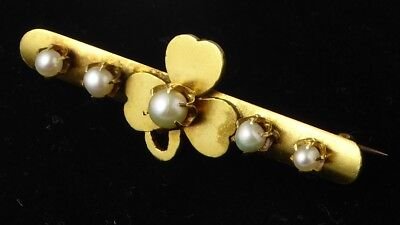 Antique Victorian 15ct Yellow Gold & Pearl Shamrock Bar Brooch