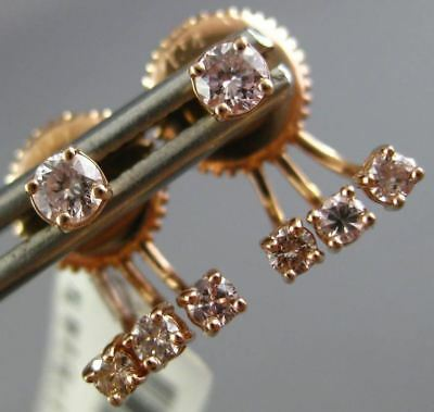 Estate .46Ct Diamond 14Kt Rose Gold 3D Four Stone Invisible Earring Jacket