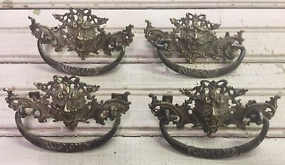 #10 Lot of 4 Antique Vintage Ornate Lion Head **Brass** Drawer ; Dresser Pulls