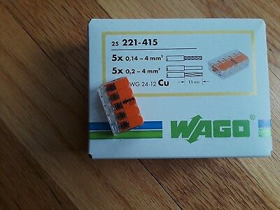 Wago 221-415 LEVER-NUTS 5 Conductor Compact Connectors 25 PK