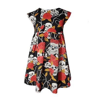 Skull /& Red Roses Goth Punk Baby Infant Toddler Girls Dress You Pick Size *