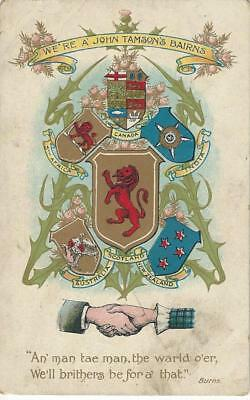 """""""we're A John Tamson's Bairns"""" Clasped Hands Allied Flags, Red Lion Shield Pc"""