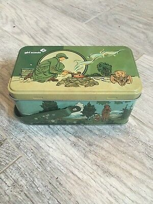 Girl Scout Metal Tin Box With Handle & Hinged Lid Embossed Design