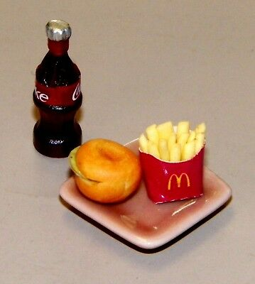 Dollhouse Miniatures, Combo: Hamburger and McDonalds Fries on Tan Plate, Coke