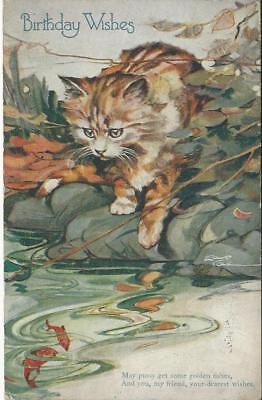 Artist Cole - Ginger Cat Watching Fish In The Water - 1927 Postcard